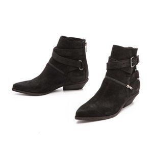 😍LD Tuttle ITALIAN luxe Black Suede Ankle Boots 8